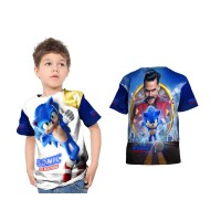 Kaos Baju Tshirt Anak SONIC THE HEDGEHOG 02 Custom Fullprint