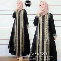 gamis muslim hitam muslim real pict abaya turkey hitam-turkey 1059