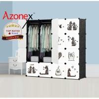 Lemari Plastik Portable Lemari Pakaian Rak Baju 16 Pintu Kucing Azonex