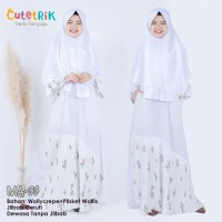 (Couple Ibu Anak) MA 33 Baju Muslim Gamis Ibu Anak Cutetrik White