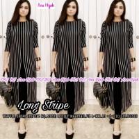 Baju tunik panjang motif garis, atasan tunik cantik - long stripe
