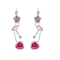 Glamorousky Earrings Anting Pink Mawar Elegan Kristal Pink