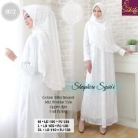 gamis muslim syari bruklat baju muslim syari putih - saphire syari