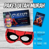 PAKET ULANG TAHUN Spiderman, Kartu Undangan, Thanks card, Tope