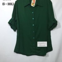 Atasan Kemeja Wanita Rayon Basic Polos Warna Hijau Big Size Jumbo