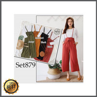 overall jumpsuit celana kulot baju kodok wanita casual Berkualitas