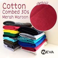 Kain Katun Cotton Combed 30s plus RIB Bahan Kaos Merah Maroon