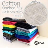 Kain Katun Cotton Combed 30s plus RIB Bahan Kaos Putih Abu Misty M68