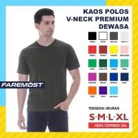 Faremost Kaos Polos Pria Lengan Pendek V-Neck Combed 30s