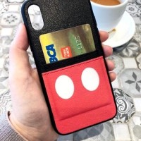 Mickey Minnie Leather Pocket - Softcase- VIVO - OPPO - XIAOMI - IPHONE