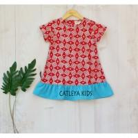Baju Dress Batik Anak Perempuan Clover Series Merah motif Bata - sz 2-4y
