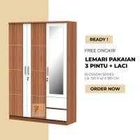 Lemari Pakaian 3 Pintu Cermin + 2 Laci - Tipe Blossom Series - Medan