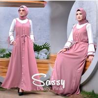 Setelan Baju Gamis wanita dewasa jumpsuit Sassy Overall moscpe murah