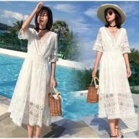 White Dress Wanita Import Beachwear Summer Dress Boho Bohemian Dress