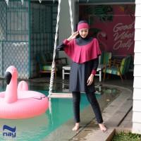 Baju Renang Muslimah - Khirani Swimwear Black-Maroon