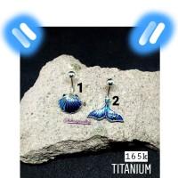 Blue Shell & Mermaid Tail Navel Piercing Tindik Anting Pusar Titanium