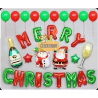 Paket Balon Foil Natal / Merry Christmas - Set A