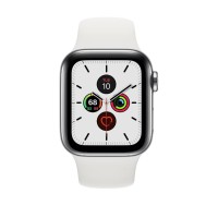 Apple Watch Series 5 44mm Stainless Steel Silver with White Sport Band