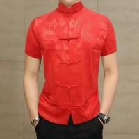 NEW PROMO Cheongsam Pria Lengan Pendek Warna Baru - Merah, XXL