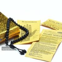 GELANG Tasbih 33 Butir Batu Natural Onyx - Onix Warna Hitam Menglikat