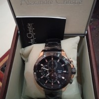 jam tangan pria sporty AC 6508 tali rantai hitam rosegold