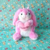 Boneka Kelinci Pegang love pink imut