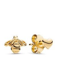 Shine Heart & Bee Stud Earrings