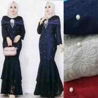 Maxi Dress / Baju Gamis Wanita Muslim Duyung Brukat Furing Mutiara HQ