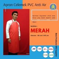 Apron Celemek Cuci Piring Bahan PVC Full Warna Merah - Kuning