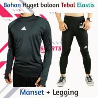 baju manset panjang dan celana legging pria sport running gym olahraga