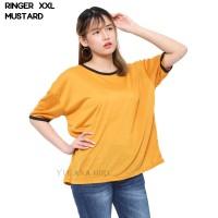 Monellina Fashion Baju Kaos T-Shirt XXL Jumbo Murah Wanita Ringer
