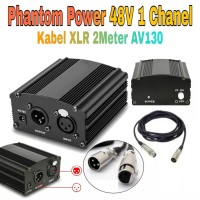 Phantom Power Supply 48V & Kabel XLR Male to Female for Mic Condenser