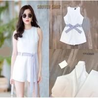 Baju Dress korea bkk strope putih Elegan Twiscone fit L 92 x 76 cm