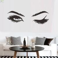 Woman Eye Wall Sticker Art Lash Face Girl Eyelash Decor Beauty Salon