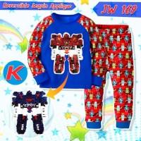 Baju Tidur Piyama Anak Laki JW 169 Reversible Sequin Robot Merah KIDS