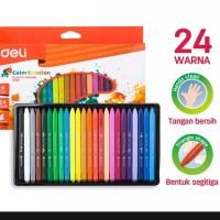 Deli crayon sekolah 24 color aman bersih di tangan anak original murah
