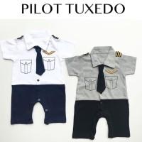Baju setelan romper motif pilot pergi kekinian fashion anak bayi