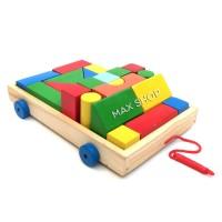 Balok Kayu Mobil Kayu Gerobak Kereta - Mainan Edukasi Anak Mainan Kayu