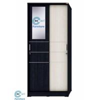 Lemari Pakaian / Baju 2 pintu Sliding Cermin activ sl 80 Hitam Cream