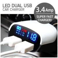 Car Charger Charging Hp Di Mobil Super Fast Charger LED Dual Port USB