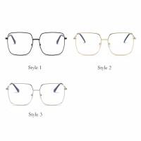 Kacamata Hitam Lensa Transparan Frame Metal Gaya Korea