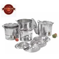 555 Saito Panci Stockpot jumbo stainless steel + Steamer / Panci set