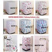 Cover Mesin Cuci 1 Tabung Bahan Satin Anti Air Motif Sarung Pelindung