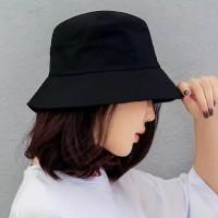 Topi bucket hat hitam polos pria wanita