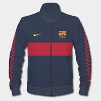 Jaket Barcelona FC Navy Bahan Halus Lembut Full Print Bisa Custom