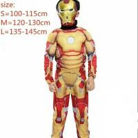 Kostum Iron Man Cosplay Anak Laki Baju + Topeng