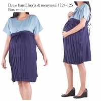 baju hamil dress hamil kerja dan menyusui 1724 biru muda