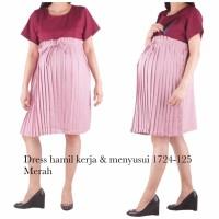 baju hamil dress hamil kerja dan menyusui 1724 merah