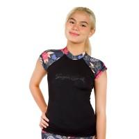 Surfer Girl Tropical Island Short Sleeve Black 19WITRSS01BLK