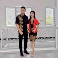Promo Diskon Baju Couple Family Natal Love Santa Mery Christmas Batik - Merah, XL